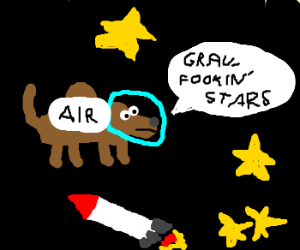 Hunchback dog in space annoyed at stars