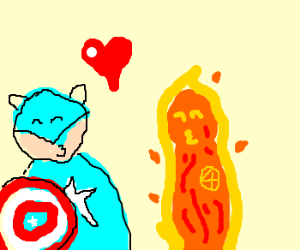 Captain America kisses the Human Torch