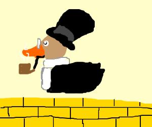 daper duck swiming in solid gold