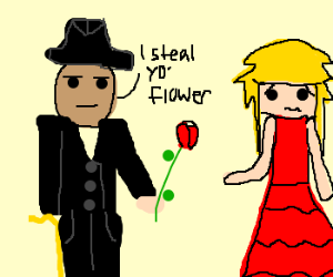 Pimp steals flower from customer