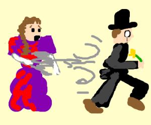 Gentleman steals flower from lady