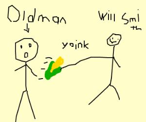 WillSmith plucks ear o corn from oldman