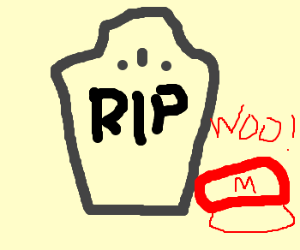 Mario and Yoshi mourn Flophades death.