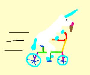bearded unicorn on a rainbow bike