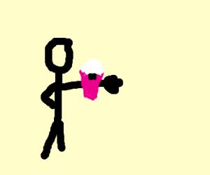man punches fist thru Hitler cupcake