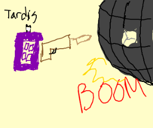 The TARDIS blows up the Death Star