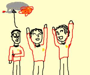 Star trek crew cheering as still alive