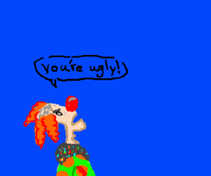 clown tells the sky it's ugly