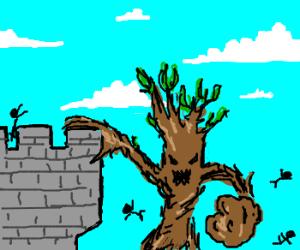 Ent attacks a castle