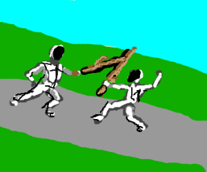 Fencers use sticks as epees