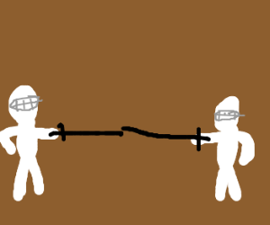 Two guys fencing