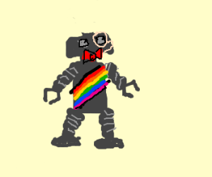 rainbow robot in monocle and bowtie