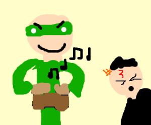 Green Lantern annoys Potter with bongos