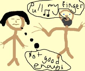 Michaelangelo sings to an asian.