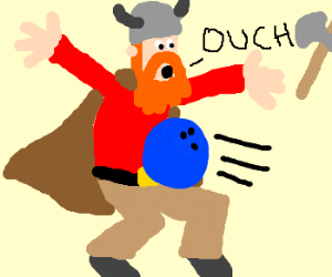 viking gets hit with bowling ball