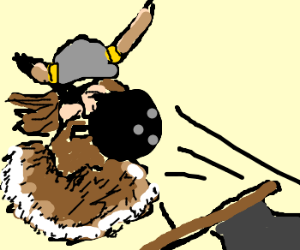 Viking is hit in face with bowling ball