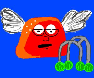 Elderly flying gumdrop