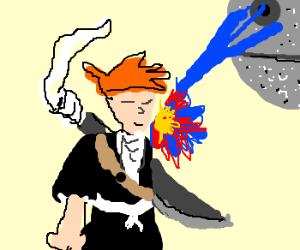Ichigo(Bleach) is fired at by deathstar