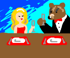 A fancy dinner party with a bear.