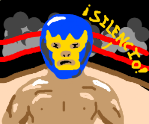 Mexican wrestler doesn't like you talkin