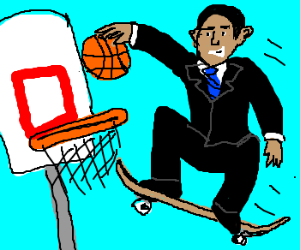 Obama slam dunks while skateboarding.