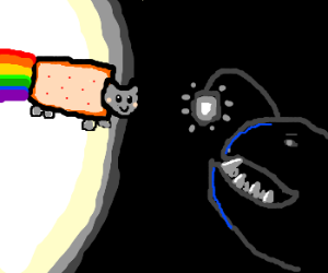 Trying to lure Nyan cat over to eat it