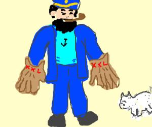 Admiral Archibald Haddock has big gloves