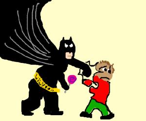 Batman punches children, steals candy