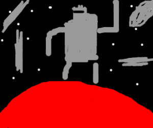 robot dancing on Mars with space junk