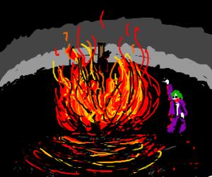 joker sets batman  ablaze