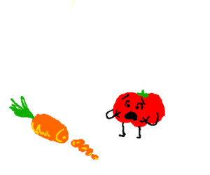 Tomato shocked by chopped dead carrot