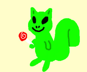 Happy alien squirrel with lollipop