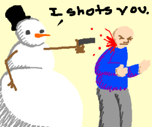 snowman shots boy's neck