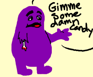 Purple monster lost an arm & wants candy