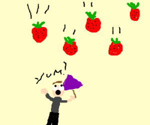 It's raining strawberries! Delicious!