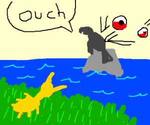 Yellow Ant sees seal beatup by Pokeballs