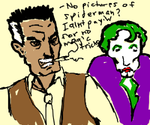 J.J.J.Jameson defeats The Joker.