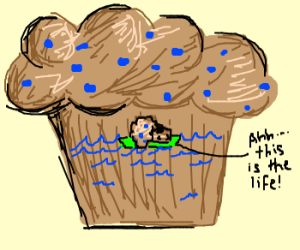 A muffin swims in a Giant Muffin