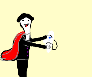 vampire holds an unhappy mask