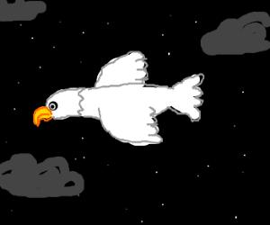 White eagle flying through the night sky