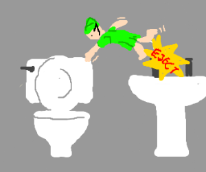 elf ejected from sink towards toilet