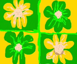 Cellophane flowers of yellow and green drawception yellow and green flowers mightylinksfo