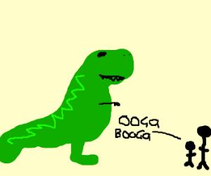 kid saying ooga booga to a dinosaur[?]