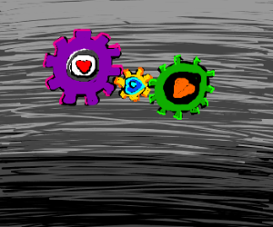 colorful gears with hearts
