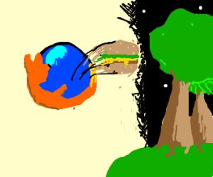 Firefox send cheeseburger back to nature