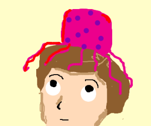 man with a pink jellyfish on his head