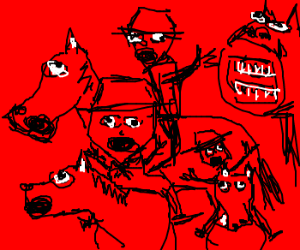 The Four Horseman are trapped in red
