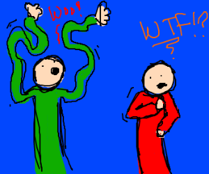 Man w/long squiggly arms confuses friend