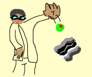 Doctor throws olive @ fossilised bacon