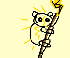 panda shock when lightning strike bamboo